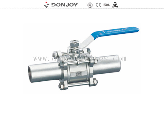 3pcs welded full port Sanitary Ball Valve With connection pipe